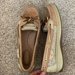 Sperry Top-Sider size 6 gold glitter shoe